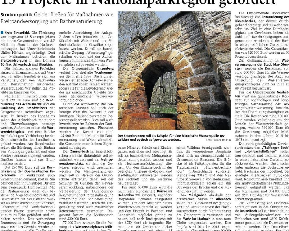 Bericht aus der Nahe-Zeitung vom 02.04.2014